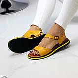 Босоніжки жіночі жовті натуральна шкіра, фото 4