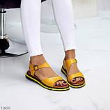 Босоніжки жіночі жовті натуральна шкіра, фото 5