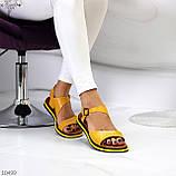 Босоніжки жіночі жовті натуральна шкіра, фото 7