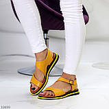 Босоніжки жіночі жовті натуральна шкіра, фото 8