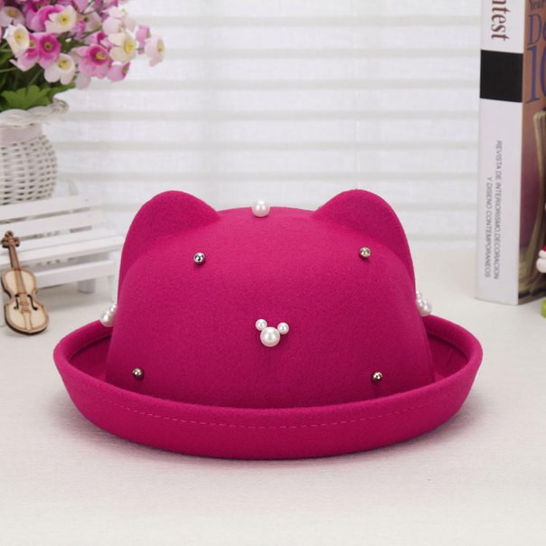 Фетровая шляпа с ушками и жемчугом (разные цвета)