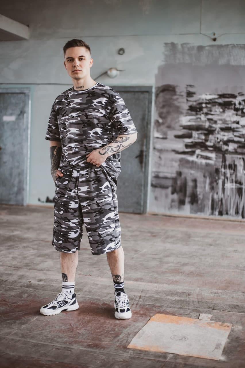 Річний комплект чоловічий оверсайз камуфляж футболка + шорти, літній спортивний костюм Player
