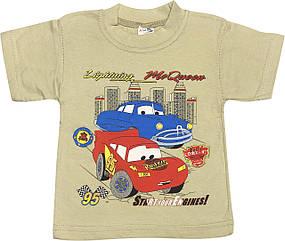 Дитяча футболка на хлопчика ріст 92 1,5-2 роки для малюків з принтом малюнком Тачки трикотажна оливкова