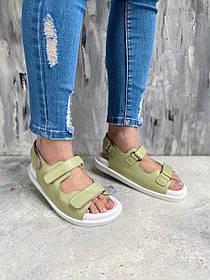 Салатовые женские сандалии из кожи открытые с ремешками на липучках, размеры от 36 до  40