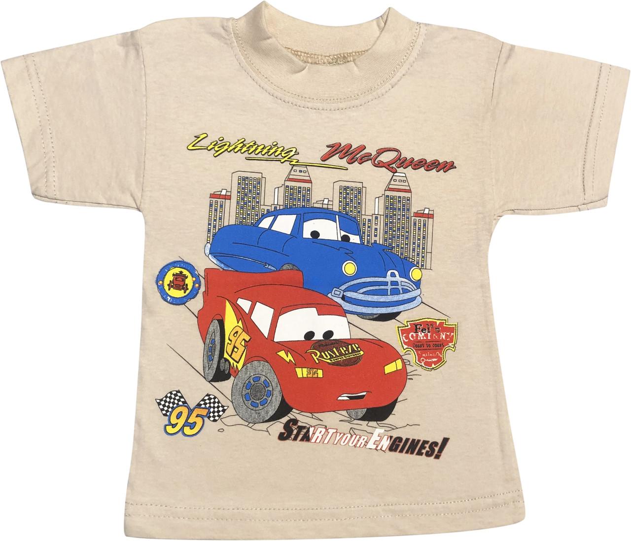 Детская футболка на мальчика рост 86 1-1,5 года для новорожденных с принтом рисунком Тачки трикотажная бежевая