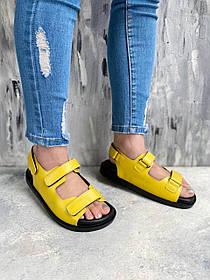 Яркие жёлтые босоножки сандалии на плоской подошве супер качество кожа, размеры от 36 до  40