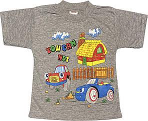 Дитяча футболка на хлопчика ріст 92 1,5-2 роки для малюків з принтом малюнком річна трикотажна сіра