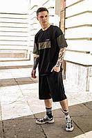 Летний комплект мужской оверсайз футболка + шорты, летний спортивный костюм черный с хаки FreeDom
