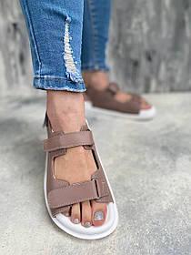 Трендовые очень удобные босоножки сандалии из кожи цвет капучино на белой низкой подошве, размеры от 36 до  40