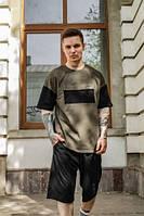 Летний комплект мужской оверсайз футболка + шорты, летний спортивный костюм хаки с черным FreeDom