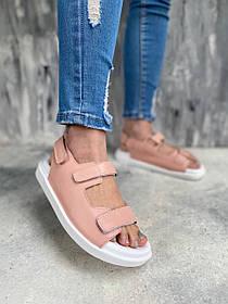 Летние сандалии 2021 цвет пудра кожа с фиксирующими лямками, размеры от 36 до  40
