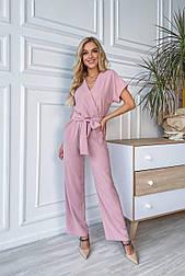 Комбинезон розовый (пудра) брючный с широкими брюками верх на запах с поясом (в расцветках)