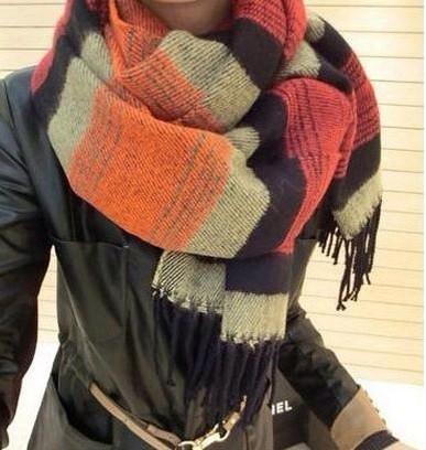 Широкий шарф в полоску (разные расцветки)