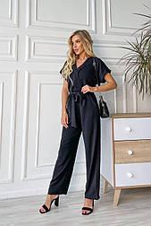 Комбинезон черный брючный с широкими брюками верх на запах с поясом (в расцветках)