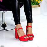 Босоножки женские красные на каблуке 12 см эко- замш, фото 2