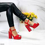 Босоножки женские красные на каблуке 12 см эко- замш, фото 4