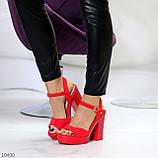 Босоножки женские красные на каблуке 12 см эко- замш, фото 3