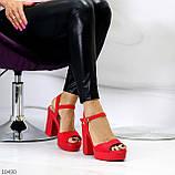 Босоножки женские красные на каблуке 12 см эко- замш, фото 5