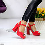 Босоножки женские красные на каблуке 12 см эко- замш, фото 6