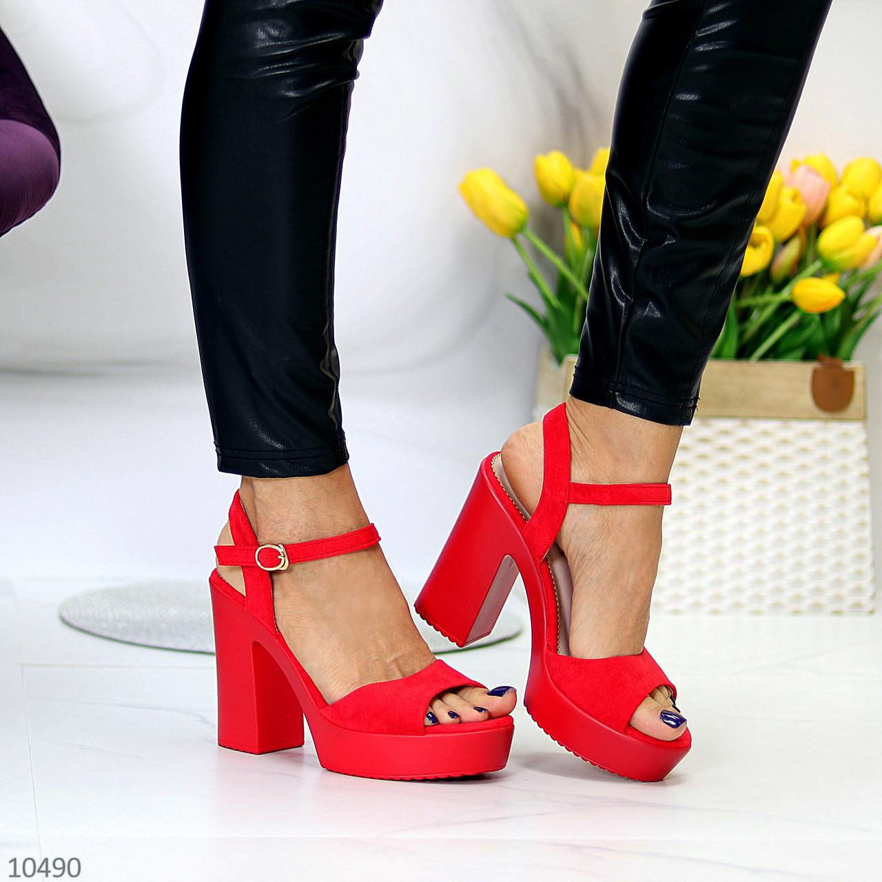 Босоножки женские красные на каблуке 12 см эко- замш