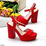 Босоножки женские красные на каблуке 12 см эко- замш, фото 7