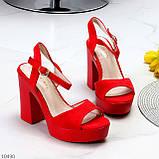 Босоножки женские красные на каблуке 12 см эко- замш, фото 8