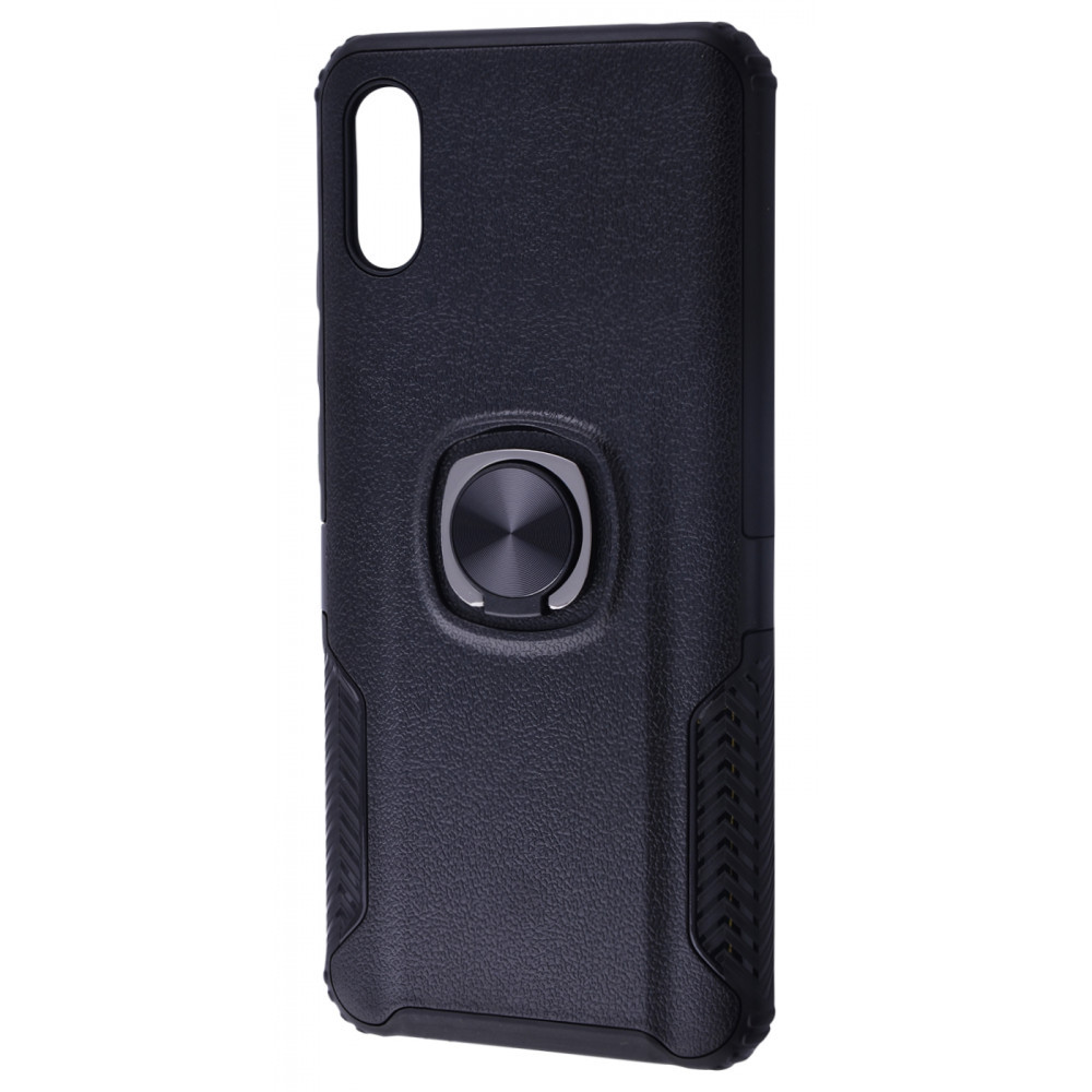 Leather Design Case With Ring (PC+TPU) Xiaomi Redmi 9A black