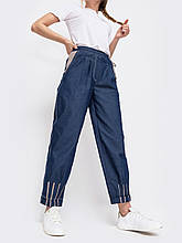 Зауженные джинсовые  брюки с талией на кулиске синие