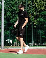 Мужской летний комплект футболка шорты, летний мужской спортивный костюм черный