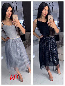 Стильная фатиновая юбка-плиссе с крупными пайетками 42-46 р