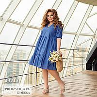 Платье с оборками свободное из прошвы, синий, фото 1