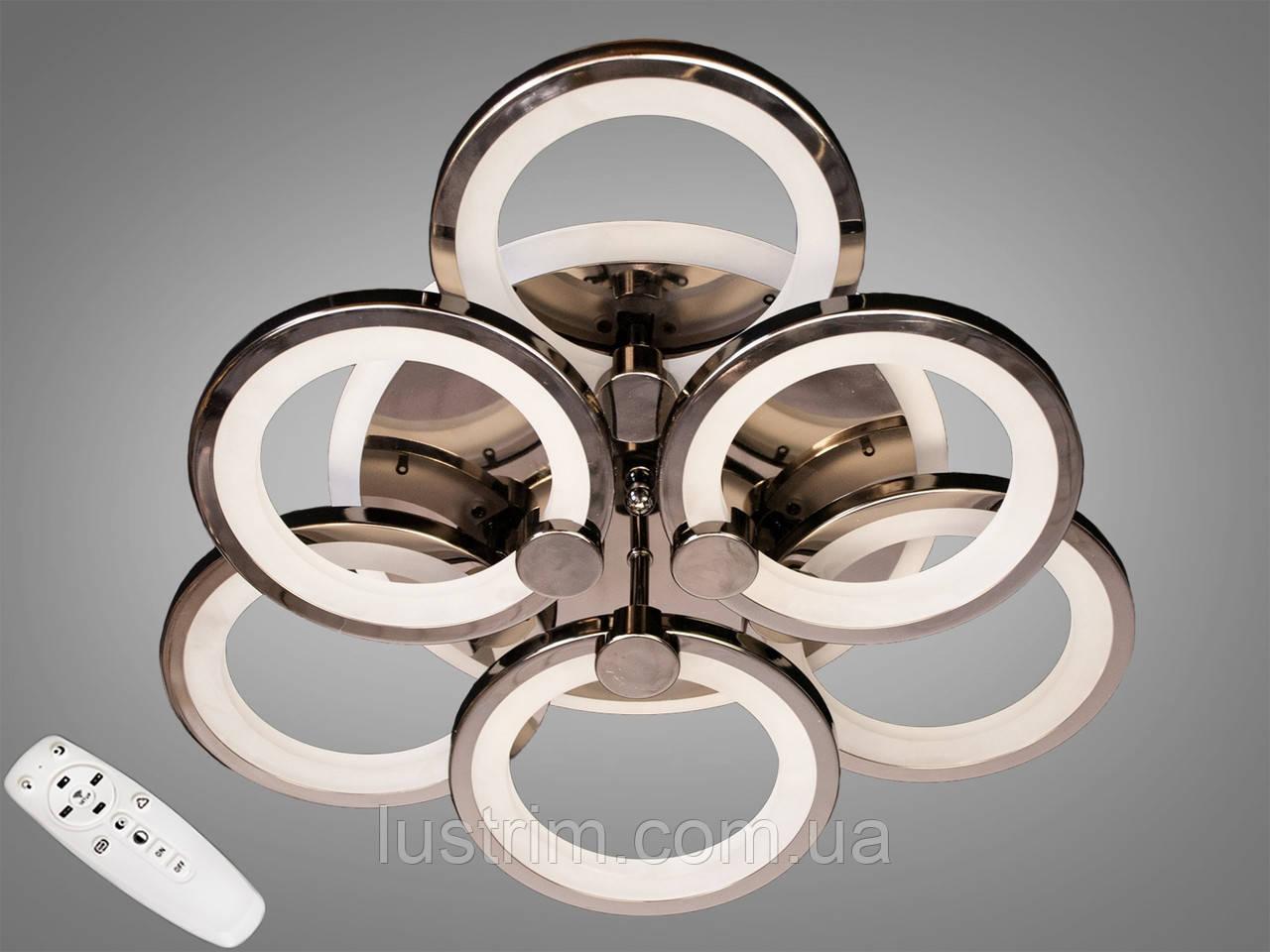 Світлодіодна LED люстра з діммером і RGB підсвіткою, 90W