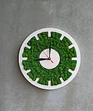Настінний круглий годинник з дерева та моху від 30 см, фото 4