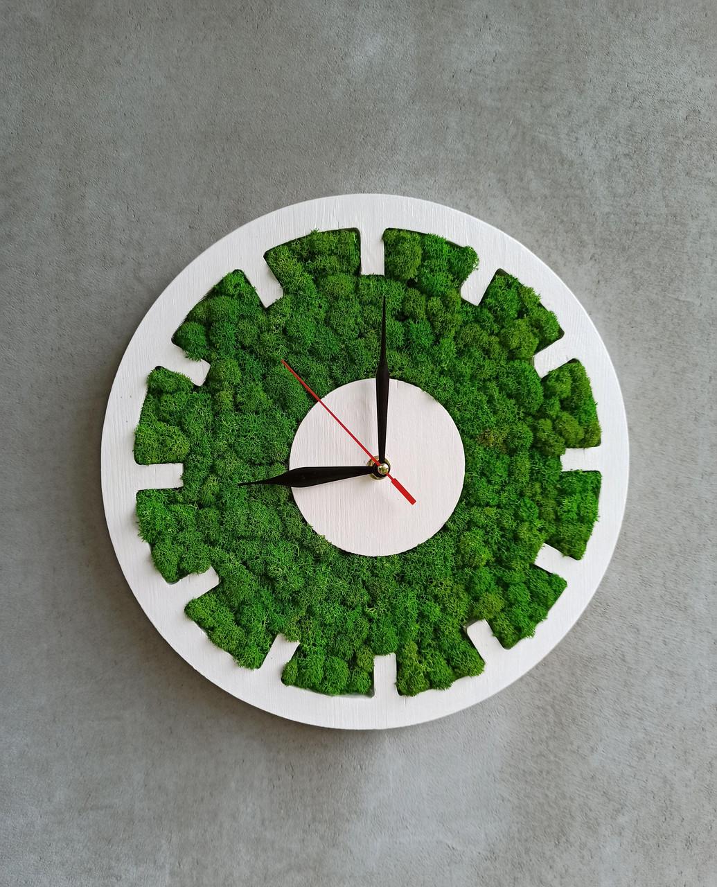 Настінний круглий годинник з дерева та моху від 30 см
