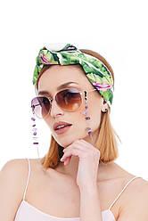 Ланцюжок для окулярів з натуральним каменем аметист