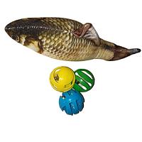 Набор игрушек для котов Рыба с мятой кошачьей и мячики 20 см коричневая