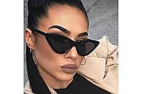Женские солнцезащитные очки кошачий глаз / лисички черные