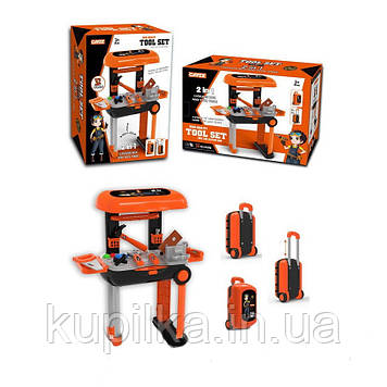 Набор игрушечных инструментов в чемодане 2 в 1 для мальчиков, трансформируется в стол-верстак KY1068-15