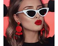 Женские солнцезащитные очки кошачий глаз / лисички черно-белые