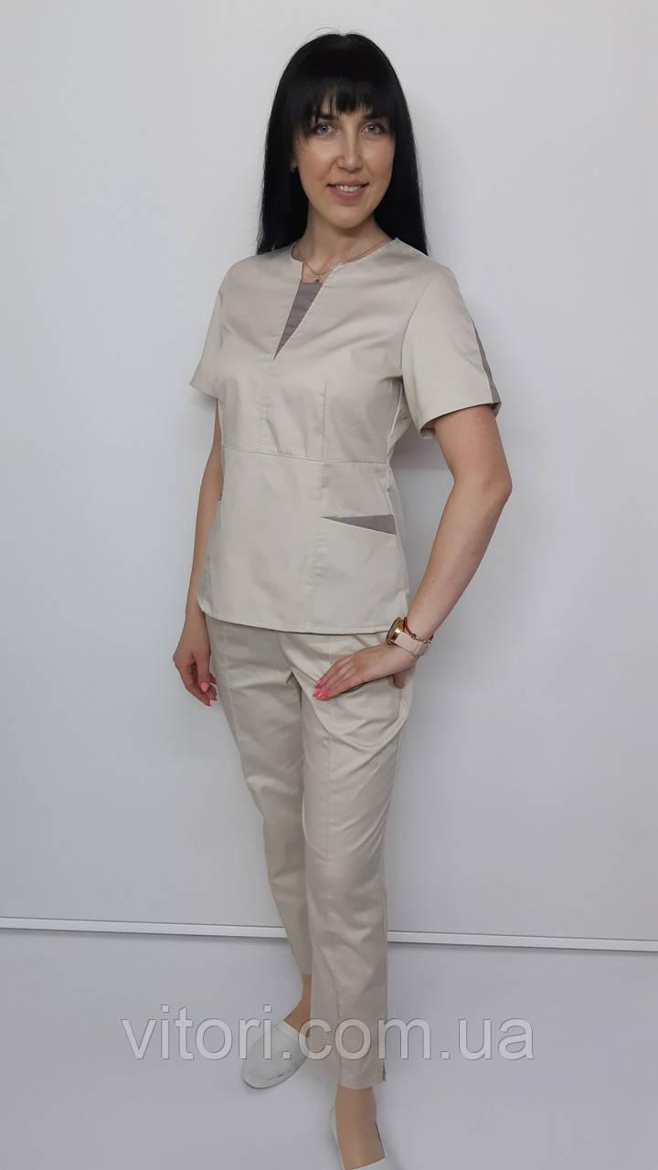 Костюм женский медицинский  Оскар стрейч-коттон  брюки укороченные