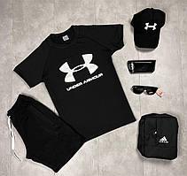 Мужской летний комплект, летний костюм футболка + шорты, летний спортивный костюм Under Armour