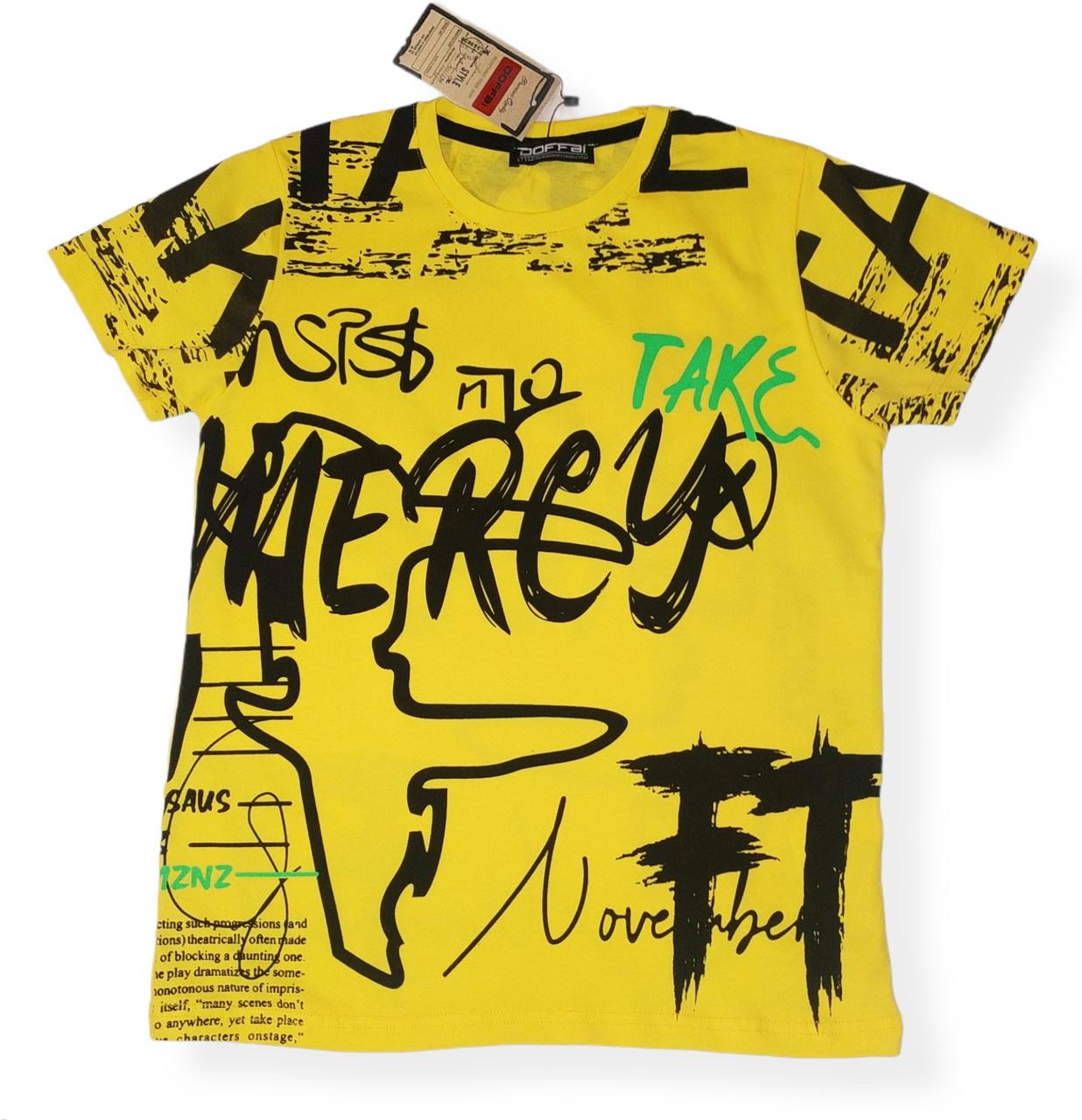 Модная футболка для мальчика желтая подростковая яркая  Размеры  146 152 164