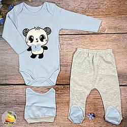 Дитячий боді зі штанцями+ шапочка Розміри: 3 та 6 місяців (02014-1)