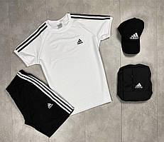 Мужской летний комплект, летний костюм футболка + шорты, летний спортивный костюм