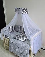 Детское постельное белье в кроватку 9 элементов, набор в детскую кроватку, комплект постельного в кроватку