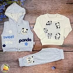 Кофточка, жилетка и штанишки для малыша Размеры: 68,74,80 см (02016)