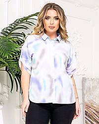Женская блузка рубашечного кроя с коротким рукавом