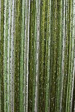 Шторы нити Радуга Дождь кисея 3х3м Белый Салатовый Оливковый с люрексом