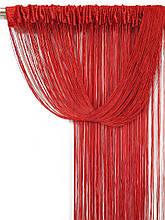 Шторы нити Дождь кисея 3х3м Красные с люрексом