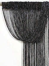 Шторы нити Дождь кисея 3х3м Черные с люрексом